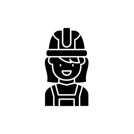 Construction master black icon, concept vector sign on isolated background. Construction master illustration, symbol
