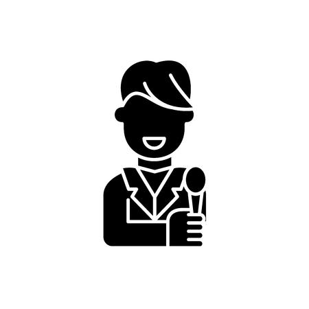 Tv host black icon, concept vector sign on isolated background. Tv host illustration, symbol Illustration