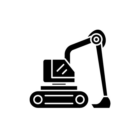 Construction excavator black icon, concept vector sign on isolated background. Construction excavator illustration, symbol