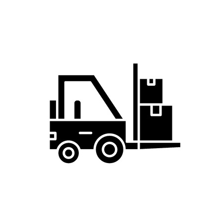 Loader in stock black icon, concept vector sign on isolated background. Loader in stock illustration, symbol Ilustração