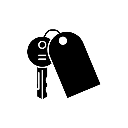 House keys black icon, concept vector sign on isolated background. House keys illustration, symbol