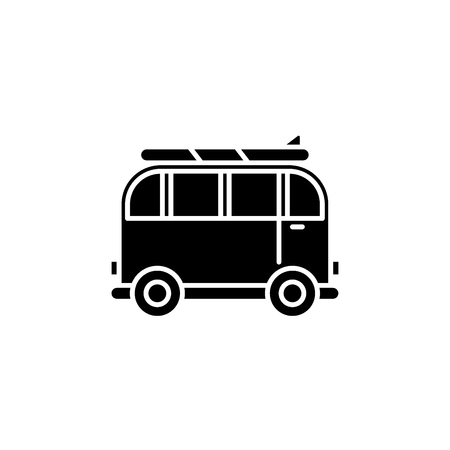 Minivan for travel black icon, concept vector sign on isolated background. Minivan for travel illustration, symbol Illustration