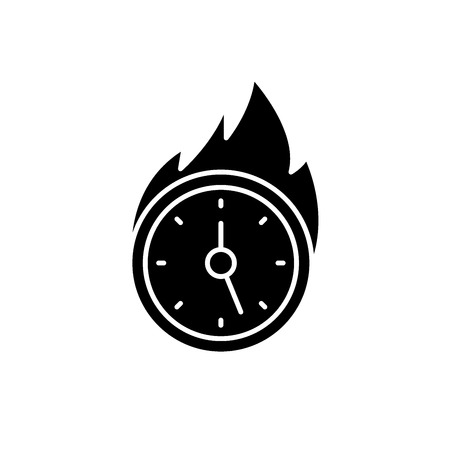 Lack of time black icon, concept vector sign on isolated background. Lack of time illustration, symbol