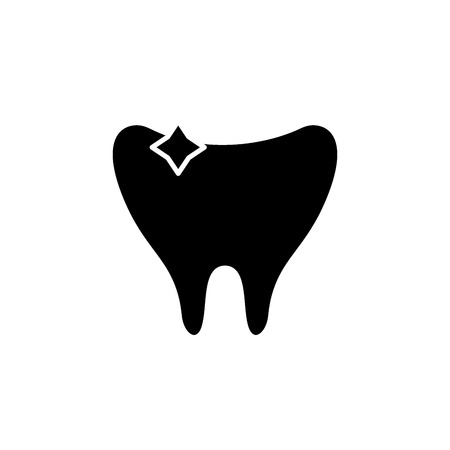 Clean tooth black icon, concept vector sign on isolated background. Clean tooth illustration, symbol Illustration