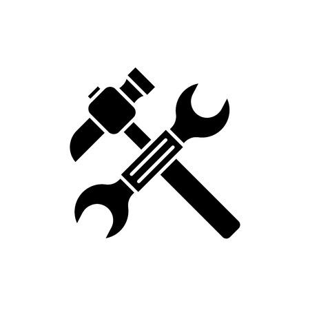 Clé et marteau icône noire, signe de vecteur de concept sur fond isolé. Clé et marteau illustration, symbole