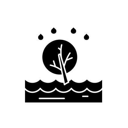 Flood black icon, concept vector sign on isolated background. Flood illustration, symbol Vetores