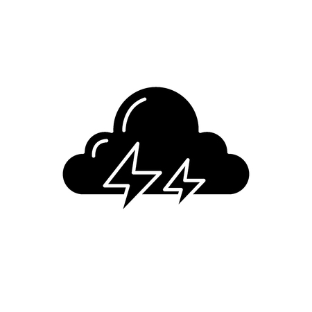 Thunderstorm black icon, concept vector sign on isolated background. Thunderstorm illustration, symbol Illustration
