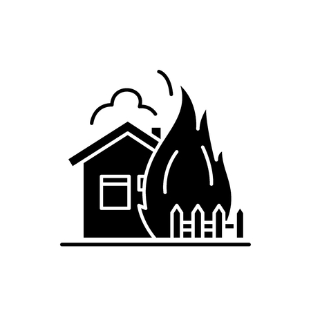 House fire black icon, concept vector sign on isolated background. House fire illustration, symbol
