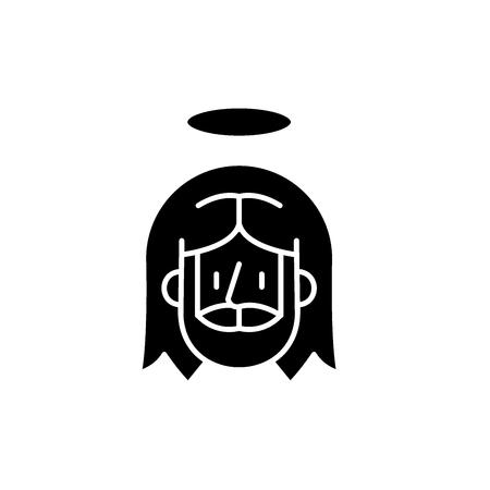 Jesus black icon, concept vector sign on isolated background. Jesus illustration, symbol