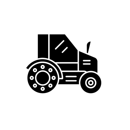 Farm tractor black icon, concept vector sign on isolated background. Farm tractor illustration, symbol Ilustracja
