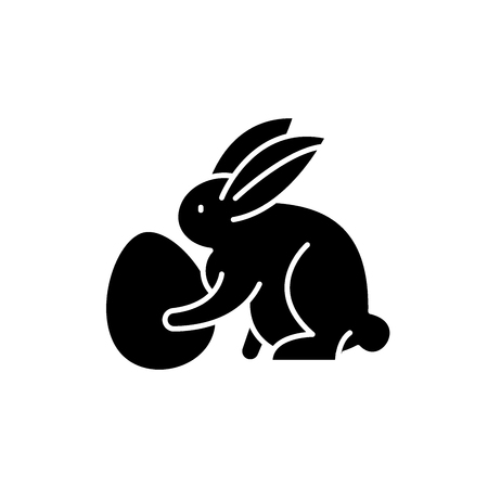 Rabbit with eggs black icon, concept vector sign on isolated background. Rabbit with eggs illustration, symbol Illustration
