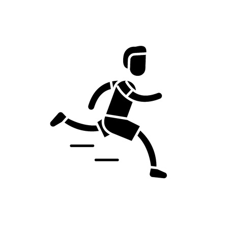 Marathon black icon, concept vector sign on isolated background. Marathon illustration, symbol