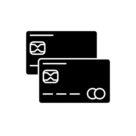 Credit cards black icon, concept vector sign on isolated background. Credit cards illustration, symbol Illustration