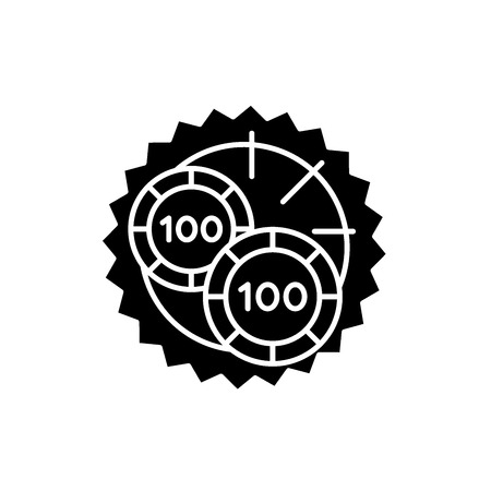 Casino roulette luck black icon, concept vector sign on isolated background. Casino roulette luck illustration, symbol
