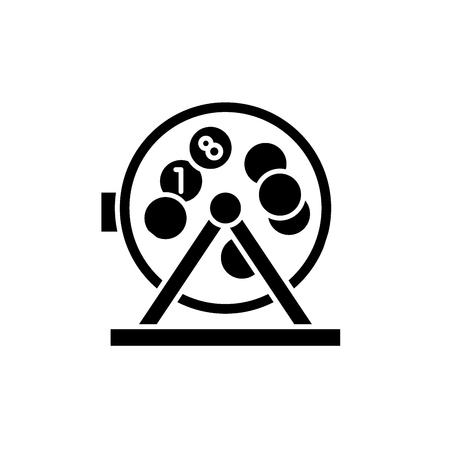 Bingo balls and lotto black icon, concept vector sign on isolated background. Bingo balls and lotto illustration, symbol