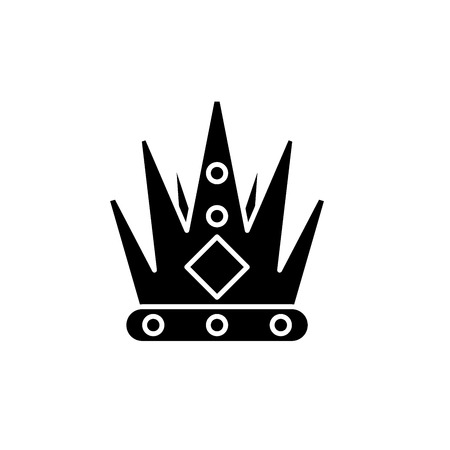 Kings crown black icon, concept vector sign on isolated background. Kings crown illustration, symbol Stock Illustratie