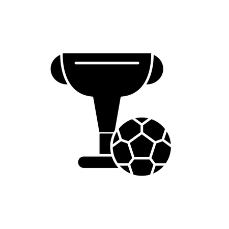 Football cup black icon, concept vector sign on isolated background. Football cup illustration, symbol