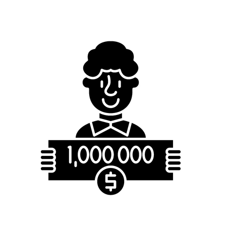 One million dollars black icon, concept vector sign on isolated background. One million dollars illustration, symbol Иллюстрация