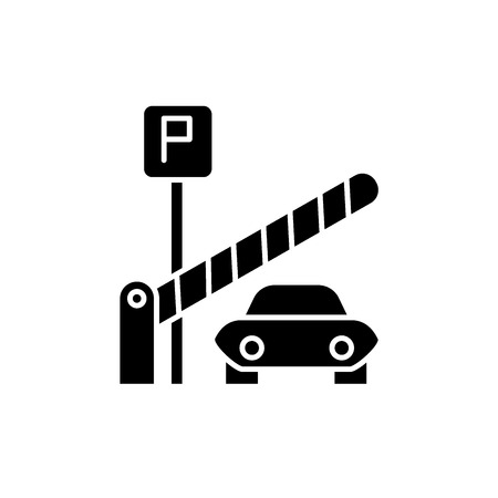 Parking lot black icon, concept vector sign on isolated background. Parking lot illustration, symbol Illustration