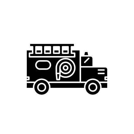 Fire engine black icon, concept vector sign on isolated background. Fire engine illustration, symbol
