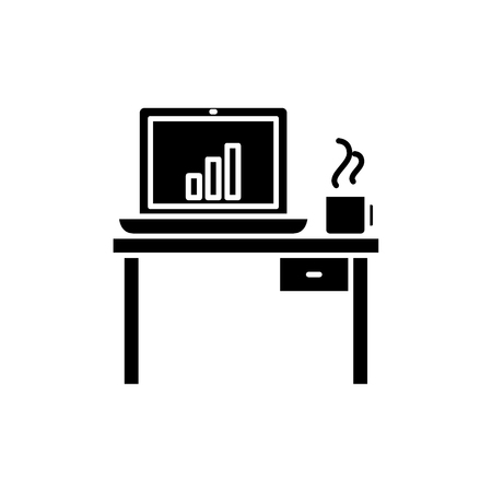 Computer desk black icon, concept vector sign on isolated background. Computer desk illustration, symbol Illustration