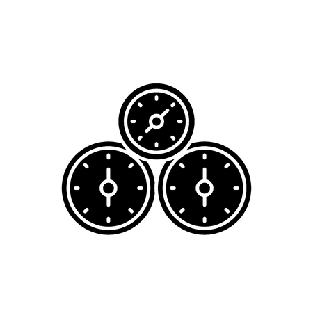 Control panel black icon, concept vector sign on isolated background. Control panel illustration, symbol