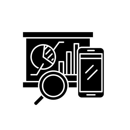 Balanced scorecard black icon, concept vector sign on isolated background. Balanced scorecard illustration, symbol Illustration