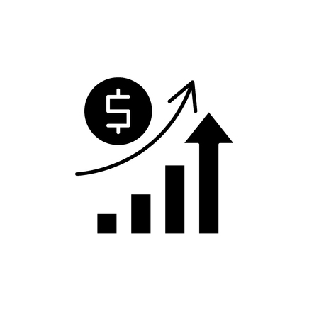 Economic growth black icon, concept vector sign on isolated background. Economic growth illustration, symbol  イラスト・ベクター素材