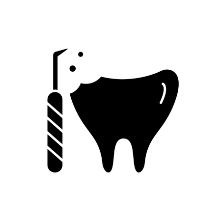 Treatment of caries black icon, concept vector sign on isolated background. Treatment of caries illustration, symbol