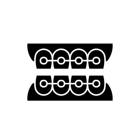 Dantist braces black icon, concept vector sign on isolated background. Dantist braces illustration, symbol