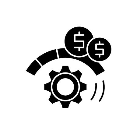 Prozessoptimierung schwarzes Symbol, Konzeptvektorzeichen auf isoliertem Hintergrund. Darstellung der Prozessoptimierung, Symbol