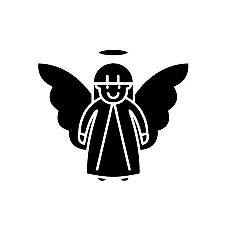 Easter angel black icon, concept vector sign on isolated background. Easter angel illustration, symbol