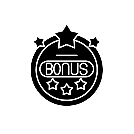 Bonus chip black icon, concept vector sign on isolated background. Bonus chip illustration, symbol