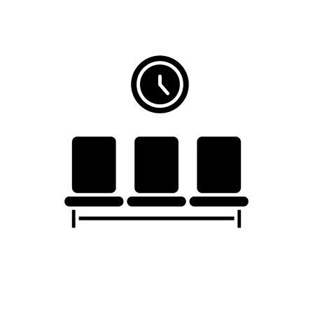 Waiting room black icon, concept vector sign on isolated background. Waiting room illustration, symbol Illustration