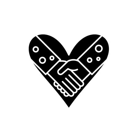 Love fidelity black icon, concept vector sign on isolated background. Love fidelity illustration, symbol Illustration