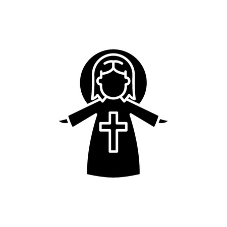 Religious angel black icon, concept vector sign on isolated background. Religious angel illustration, symbol