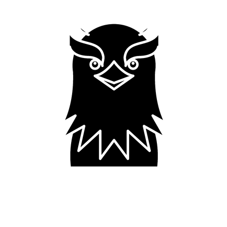 Funny eagle black icon, concept vector sign on isolated background. Funny eagle illustration, symbol
