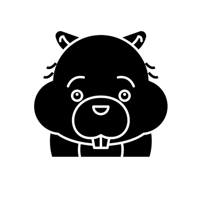 Funny beaver black icon, concept vector sign on isolated background. Funny beaver illustration, symbol