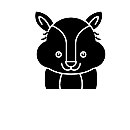 Funny raccoon black icon, concept vector sign on isolated background. Funny raccoon illustration, symbol
