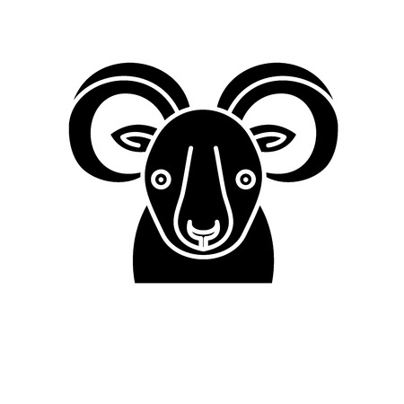 Funny ibex black icon, concept vector sign on isolated background. Funny ibex illustration, symbol
