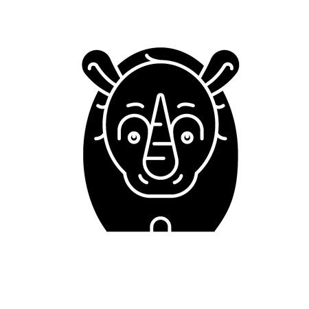 Funny rhino black icon, concept vector sign on isolated background. Funny rhino illustration, symbol Illustration
