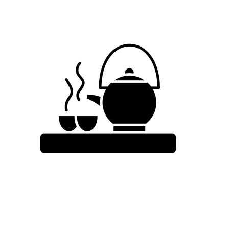Asian tea black icon, concept vector sign on isolated background. Asian tea illustration, symbol
