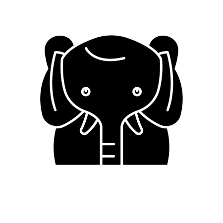 Funny elephant black icon, concept vector sign on isolated background. Funny elephant illustration, symbol