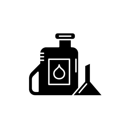 Machine oil black icon, concept vector sign on isolated background. Machine oil illustration, symbol