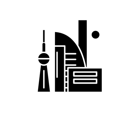 Chinese skyscrapers black icon, concept vector sign on isolated background. Chinese skyscrapers illustration, symbol