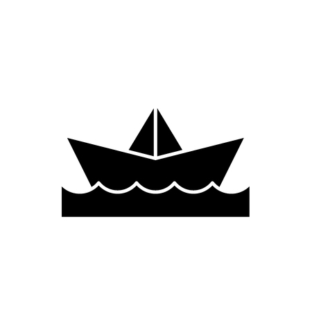 Paper boat black icon, concept vector sign on isolated background. Paper boat illustration, symbol 스톡 콘텐츠 - 113531601