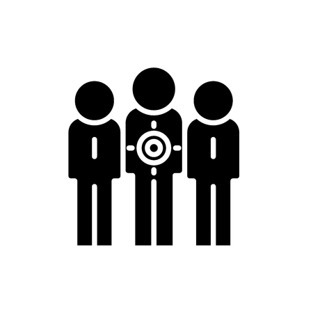 Target audience black icon, concept vector sign on isolated background. Target audience illustration, symbol