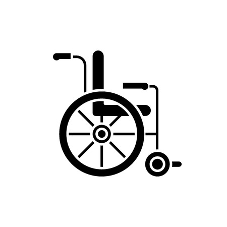 Wheelchair black icon, concept vector sign on isolated background. Wheelchair illustration, symbol Illustration