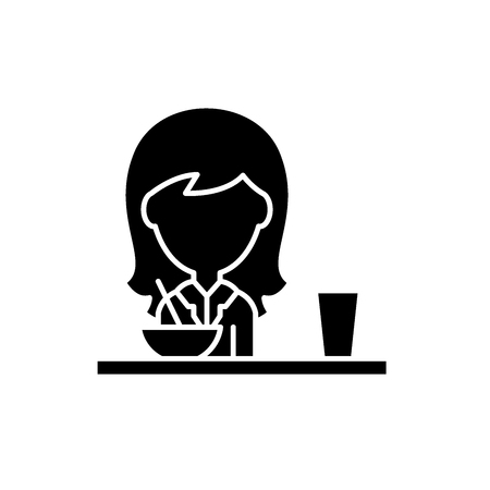 Lunch in the dining room black icon, concept vector sign on isolated background. Lunch in the dining room illustration, symbol Illustration