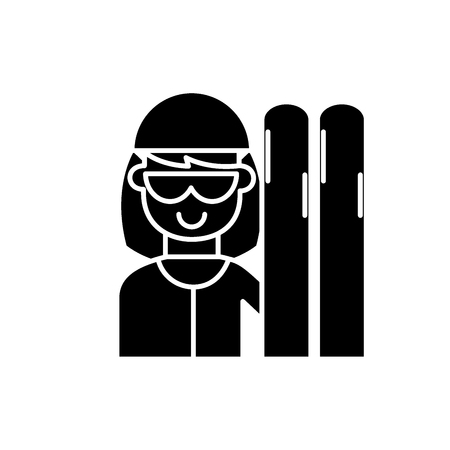 Skier black icon, concept vector sign on isolated background. Skier illustration, symbol